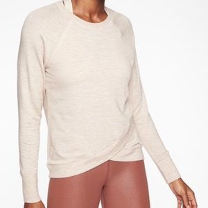 Athleta Serenity Criss Cross White Sweatshirt